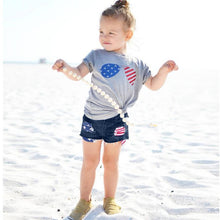 Little Girl's 4th Of July American Flag Splice T-Shirt with Denim Shorts Set