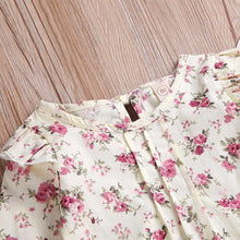 2PCs Long Sleeve Floral Tops + Overalls