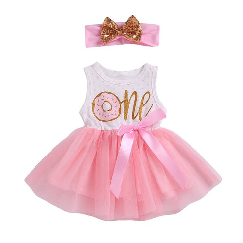 Little girl's first birthday dress | donut theme | Matching headband