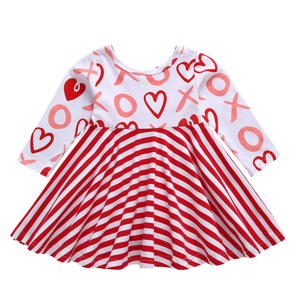 Little Girl's Red and White Stripe Heart Print Long Sleeve Dress