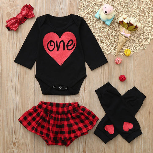 4pcs Baby Girl's First Birthday Outfit Red/Black Plaid