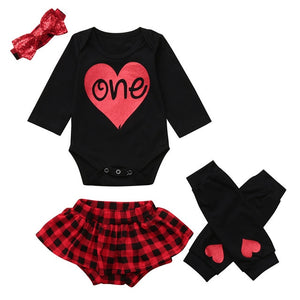 825f4d27f 4pcs Baby Girl's First Birthday Outfit Red/Black Plaid