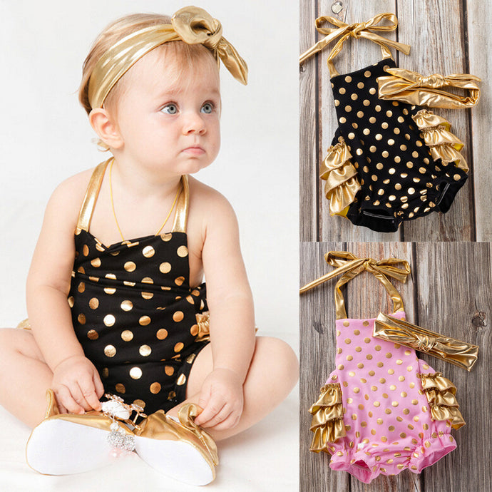 Baby Girl Bowknot Dot Rompers with matching gold headband