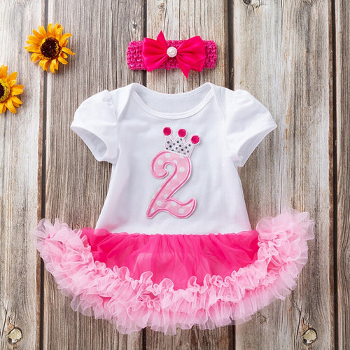 2 PCS Toddler Baby Girls Short Sleeve Birthday Dress + Headband Outfits Set