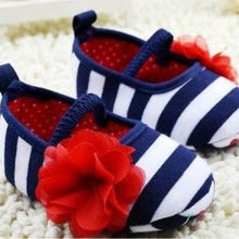 Soft Infant Crib Shoes Red White Blue Stripe
