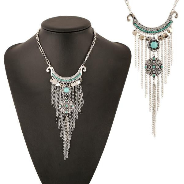 Bohemian Gypsy Style Turquoise Tassel Long Chain Pendant Necklace