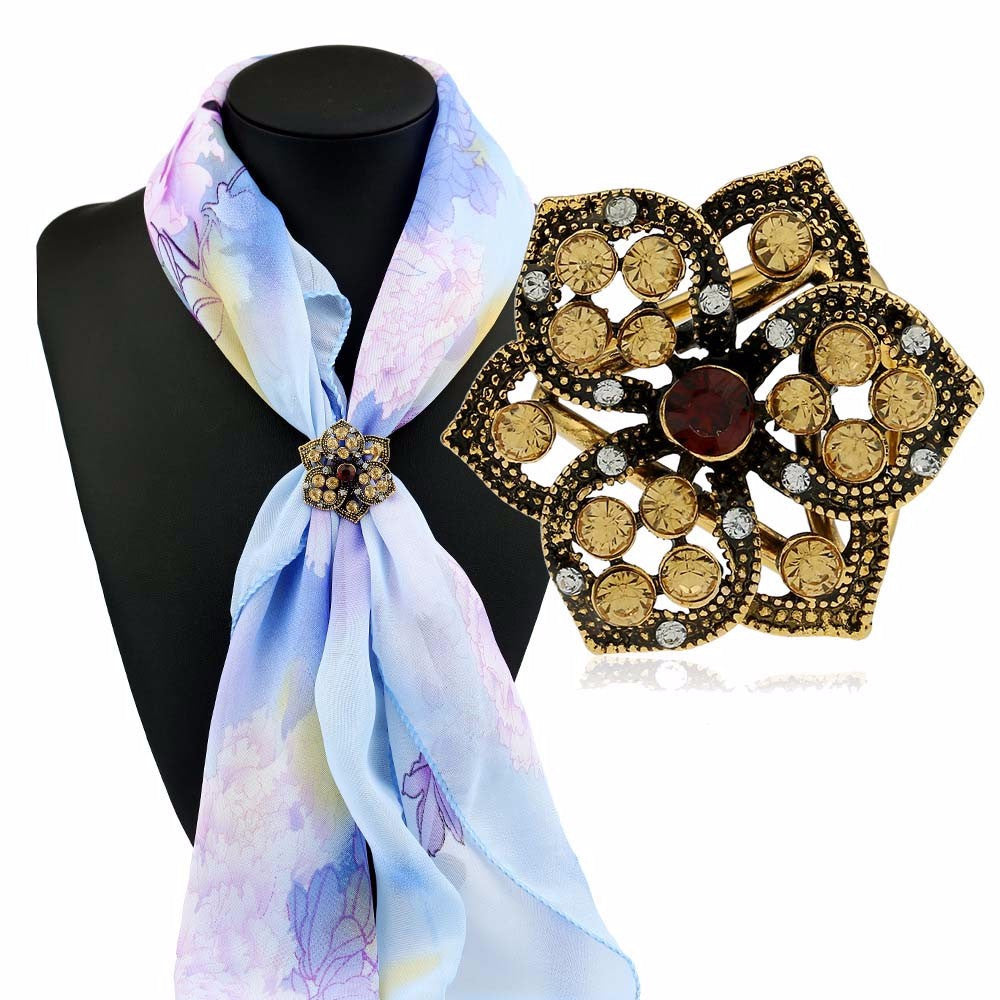 Diamond Flowers Tricyclic Scarf Buckle Brooch Holder Scarf Jewelry GD