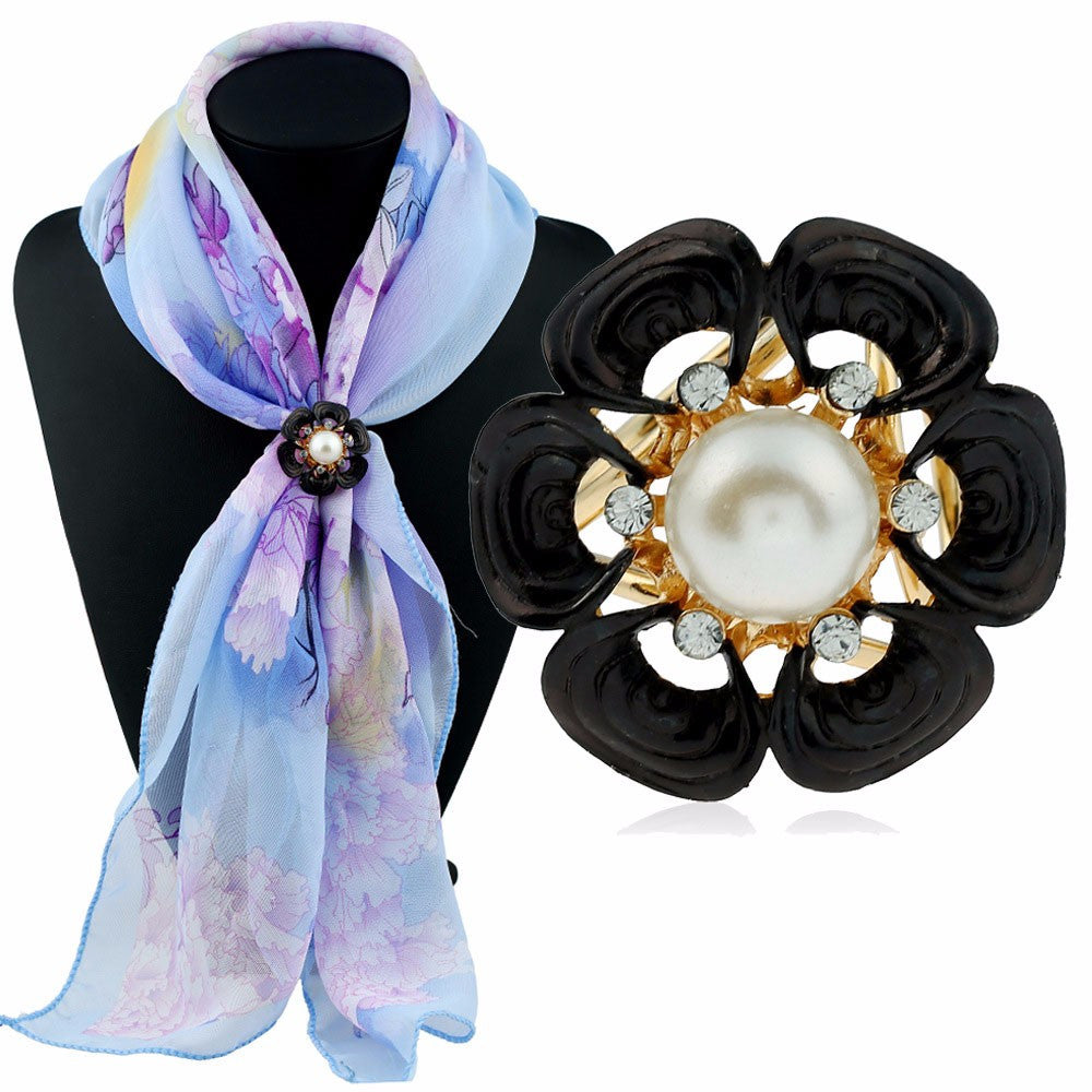Flower Pearl Tricyclic Scarf Buckle Brooch Holder Scarf Jewelry BK