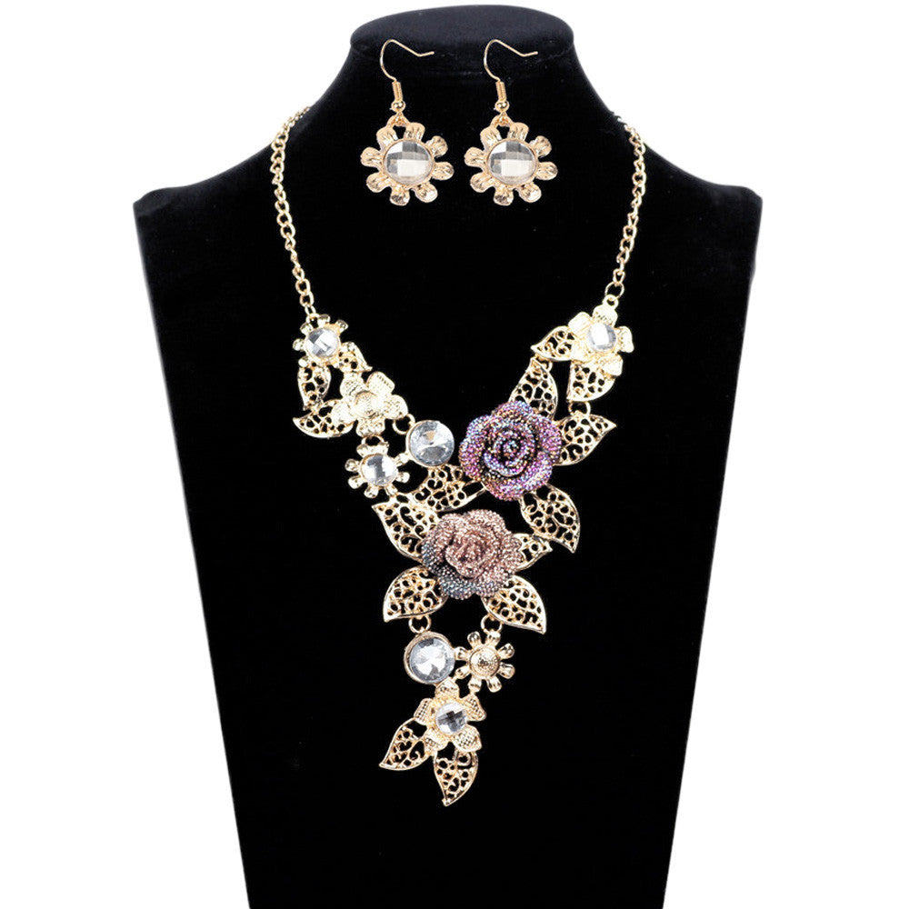 Women's Elegant Diamond Flowers Necklace Statement Earrings Jewelry Set