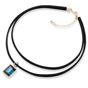 Fashion Leather Cord Necklace Retro Simple Semi Precious Stone Chain
