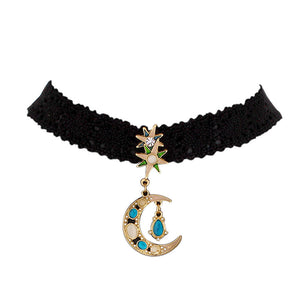 Women Girl Lace Choker Necklace Gothic Moon Leather Rope Jewelry Necklaces
