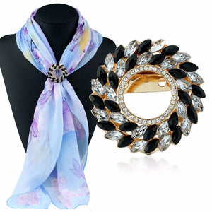 Simple Diamond Wreath Scarf Buckle Scarf Circle Brooch Holder Scarf Jewelry GD