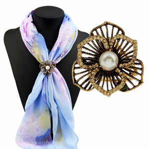 Flowers Diamond Tricyclic Scarf Buckle Brooch Holder Scarf Jewelry GD