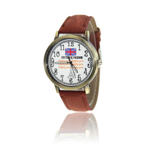 British Flag Pattern Leather Band Analog Quartz Vogue Wrist Watches