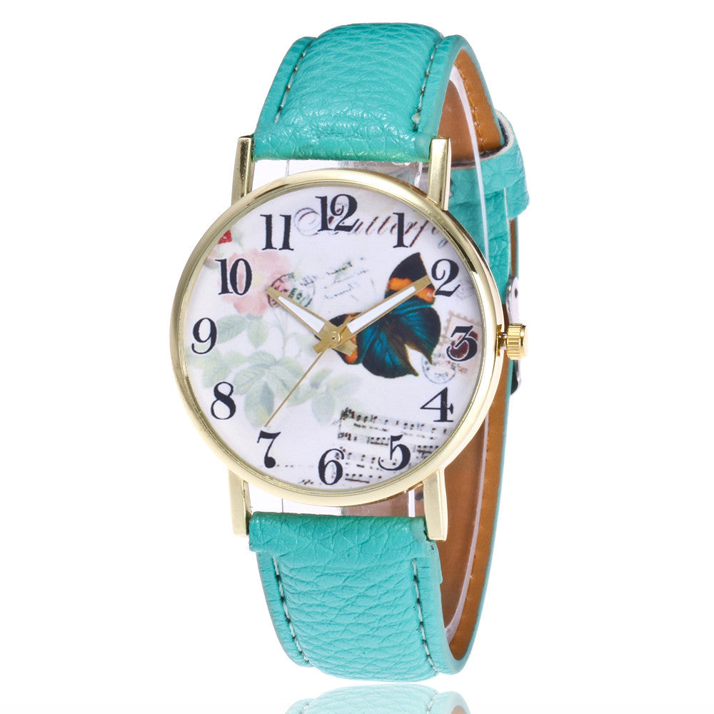 Butterfly Pattern Leather Band Analog Quartz Vogue Wrist Watches