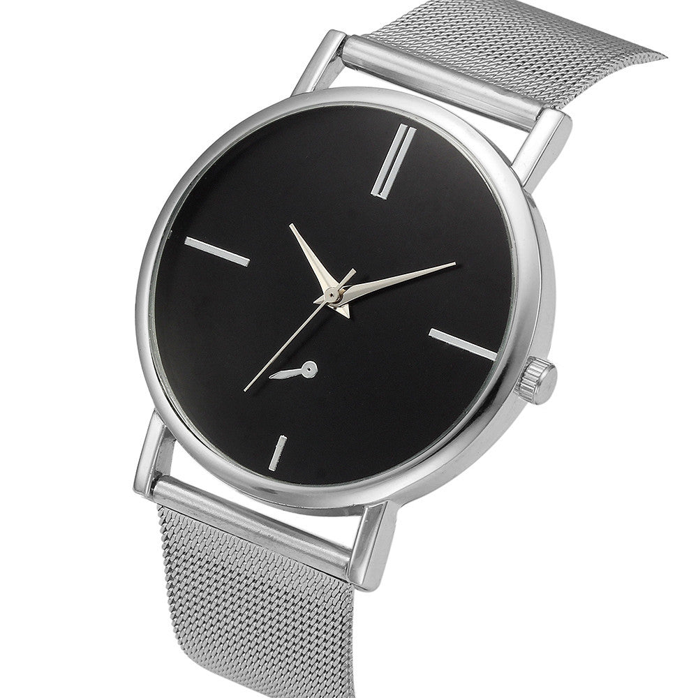 Womens Fashion Classic Geneva Quartz Stainless Steel Wrist Watch