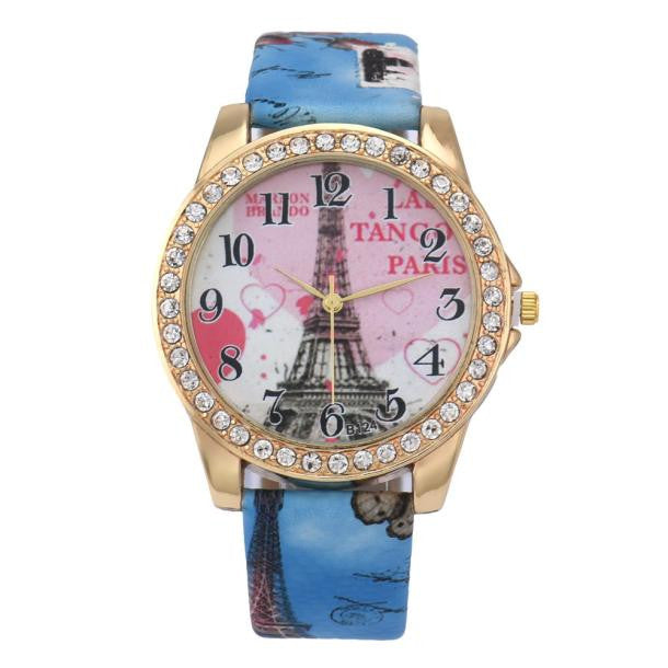 Eiffel Tower Pattern Leather Band Analog Quartz Vogue Wristwatches