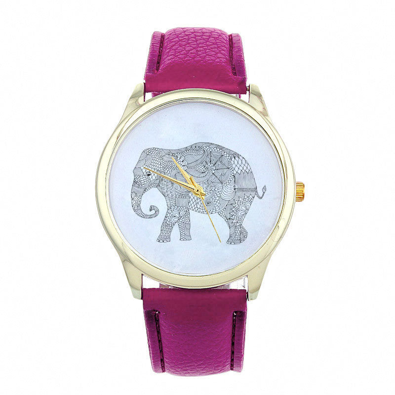 Elephant Women Printing Pattern Weaved Leather Quartz Dial Watches