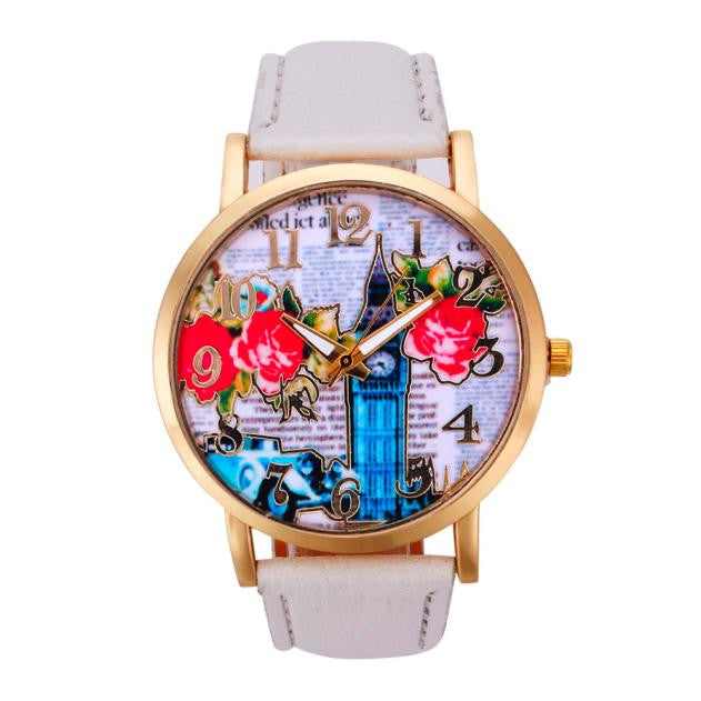 Bell Pattern Leather Band Analog Quartz Vogue Wristwatches