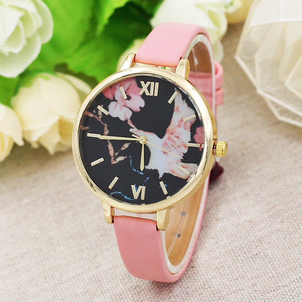 Bird Flowers Women Leather Band Analog Quartz Movement Wrist Watch