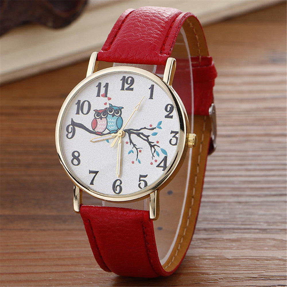 Cute Owl Pattern Neutral Fashion Leather Quartz Wrist Watch