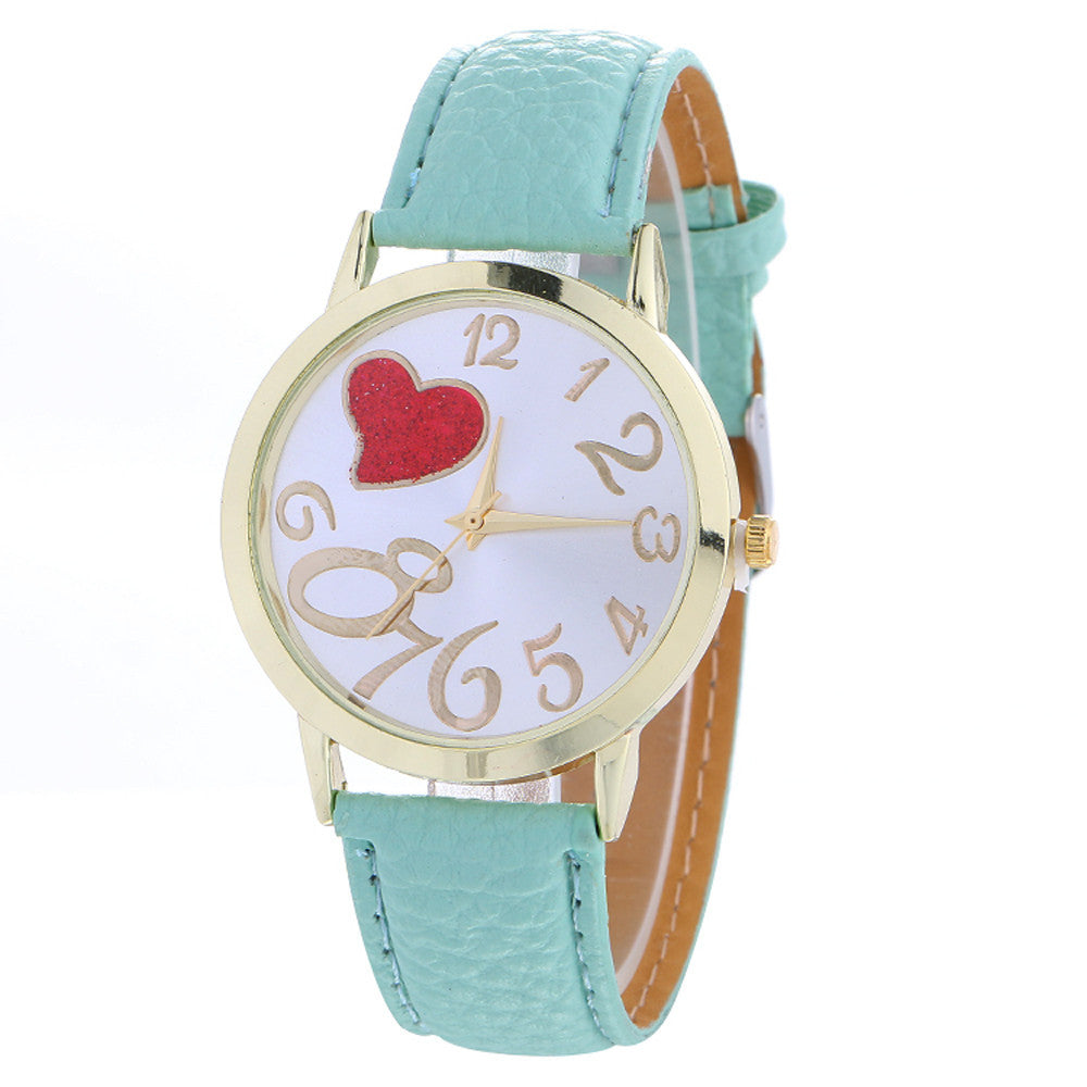 Love Patterns Fashion Womenlored PU Leather Watch