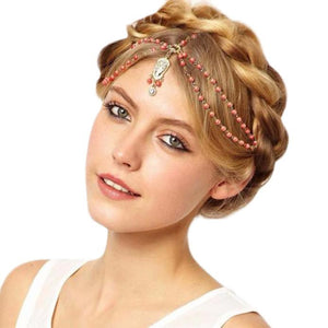 Pearl Tassel Flower Stretch Headband Hair Band Crystal Hair Chain