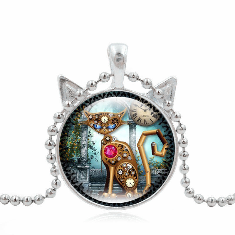 Cute Mechanical Cat Art Picture Pendant Statement Chain Necklace