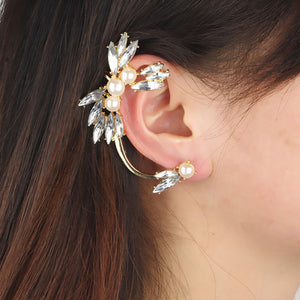 Womens Fashion Flower Shape Rhinestone Left Ear Cuff Clip Stud Earring