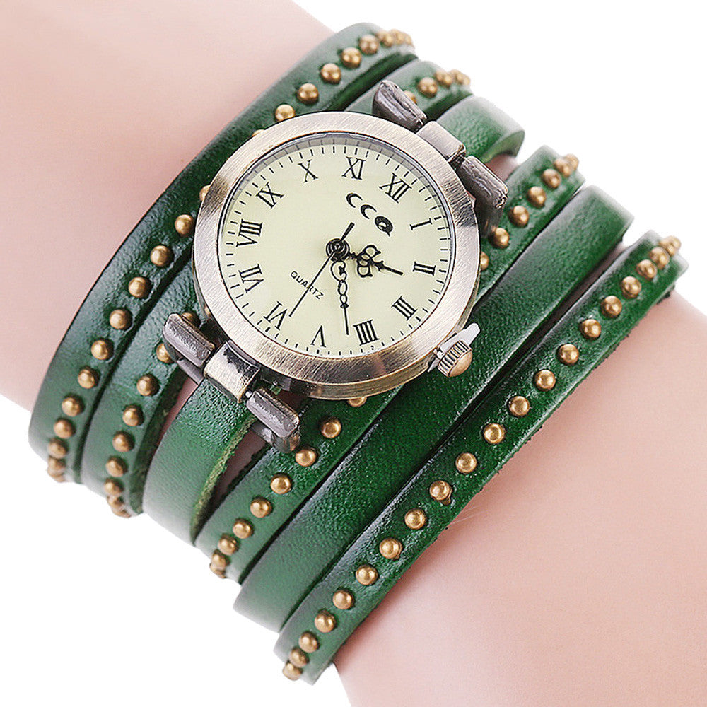 CCQ Brand Vintage Leather Bracelet Watch Men Women Wristwatch Quartz