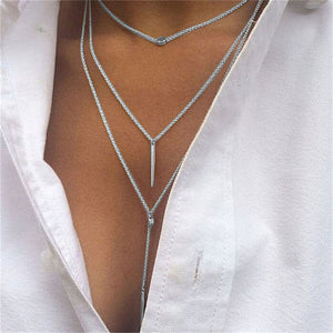 Women Tassel Multilayer Necklace Elegant Chain Jewelry SL