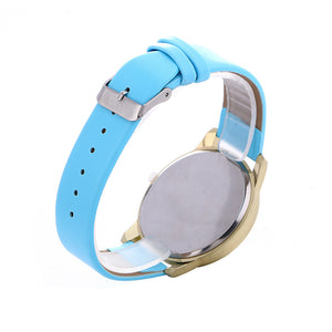 Fahion Women Casual Checkers Faux Leather Quartz Analog Wrist Watch