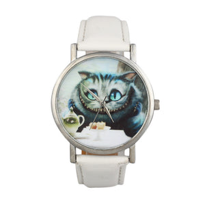 Casual Cute Cat Womens Leather Band Analog Quartz Dial Wrist Watch