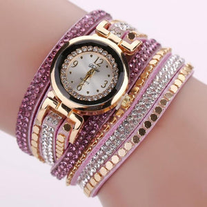 Chic Leather Blocks Decorated Diamond Bracelet Ladies Fashion Watches
