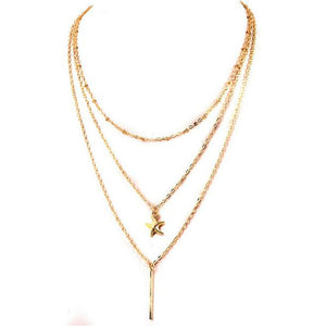 Women Starfish Multilayer Crystal Pendant Chain Statement Necklace