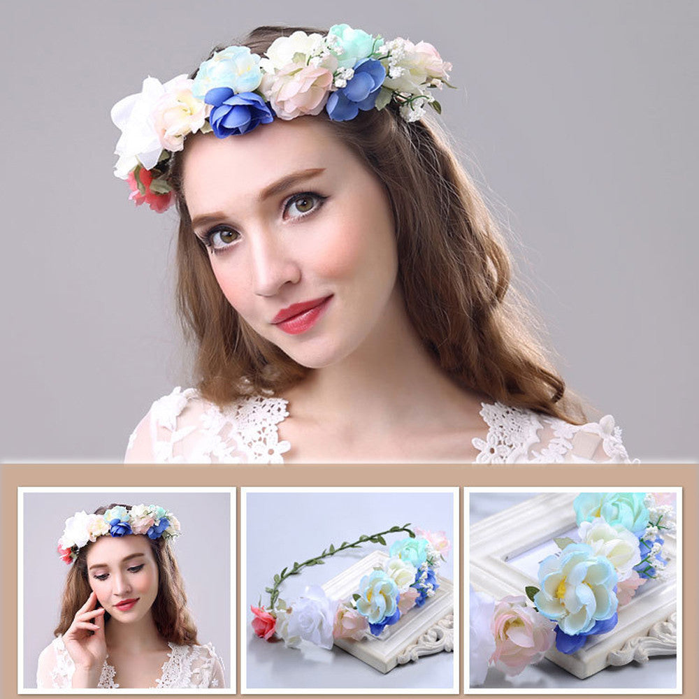 Women Weave Long Handmade Flower Hairband Crown Wedding Wreath Bridal Headdress