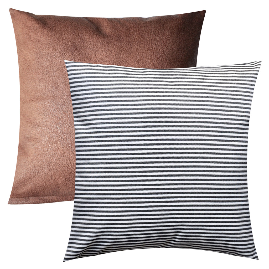 PANDICORN Set of 2 Farmhouse Decorative Throw Pillow Covers, Rustic Black and White Striped, Brown Faux Leather Textured Cushion Cover, 18 x 18 Inch