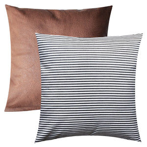 Awesome Pandicorn Set Of 2 Farmhouse Decorative Throw Pillow Covers Rustic Black And White Striped Throw Pillows Case Brown Faux Leather Textured Cushion Gmtry Best Dining Table And Chair Ideas Images Gmtryco
