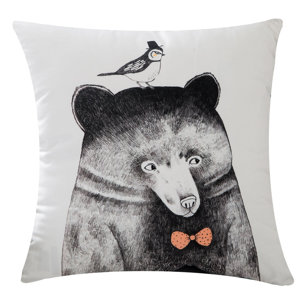 Cuddly Velvet Bear and Bird Throw Pillow Covers