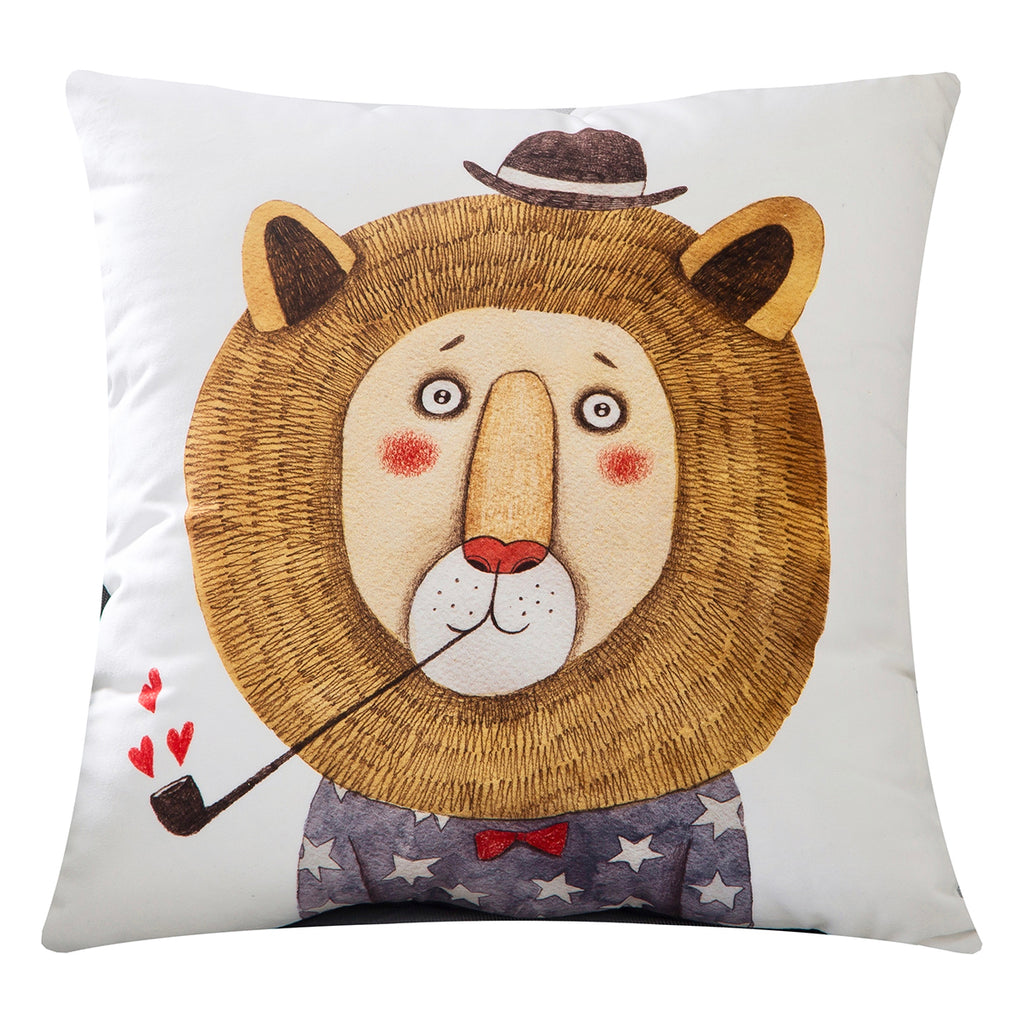 Cuddly Velvet Cool Lion Smoking Pipe Throw Pillow Covers