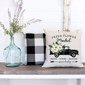 Farmhouse Pillow Covers 18x18, Spring Summer Green Boxwood Wreath, Country Truck with Fresh Flowers, Rustic Welcome