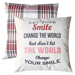 PANDICORN Set of 2 Modern Farmhouse Decorative Throw Pillows Covers, Red Black White Buffalo Check Throw Pillow Cases with Inspirational Quotes for Women Girls, Let Your Smile Change the World, 18x18