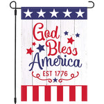 Patriotic 4th of July Garden Flag 12×18, God Bless America, Star and Stripes Welcome