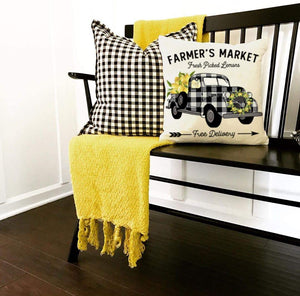 Farmhouse Lemon Pillow Covers for Home Decor, Black Buffalo Plaid Truck Lemonade, Vintage Summer