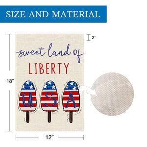 4th Fourth of July American Garden Flag 12x18 Double Sided, Stars and Stripes Summer Popsicle American Flag