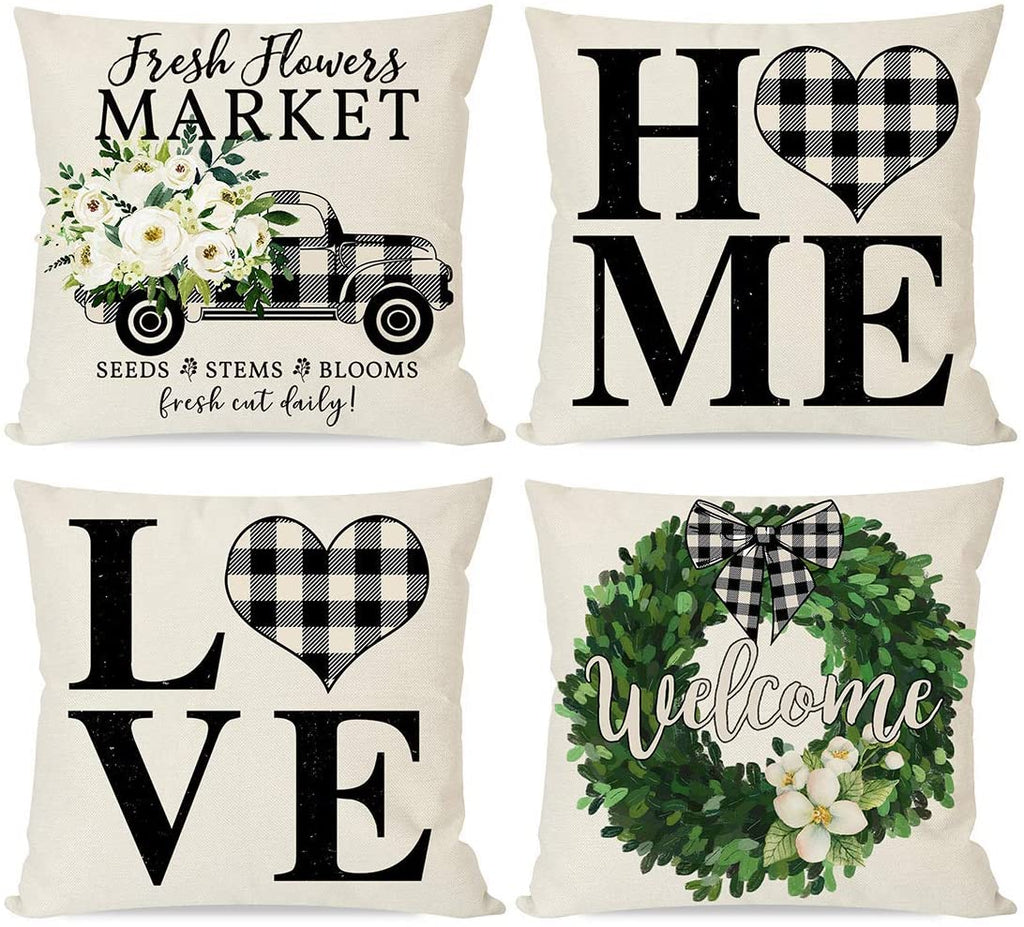 Modern Farmhouse Pillow Covers 18x18 Set of 4, Black Buffalo Plaid Check Home Love Heart Truck Wreath, Spring Decor Green Flower Floral