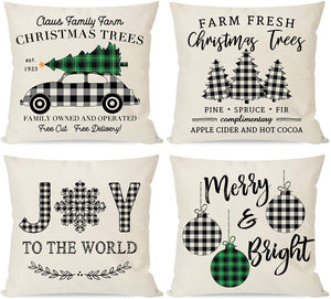 PANDICORN Buffalo Plaid Farmhouse Christmas Pillow Covers 18x18 Set of 4,  Outdoor Christmas Decorations, Christmas Decor Trees Truck Ornaments