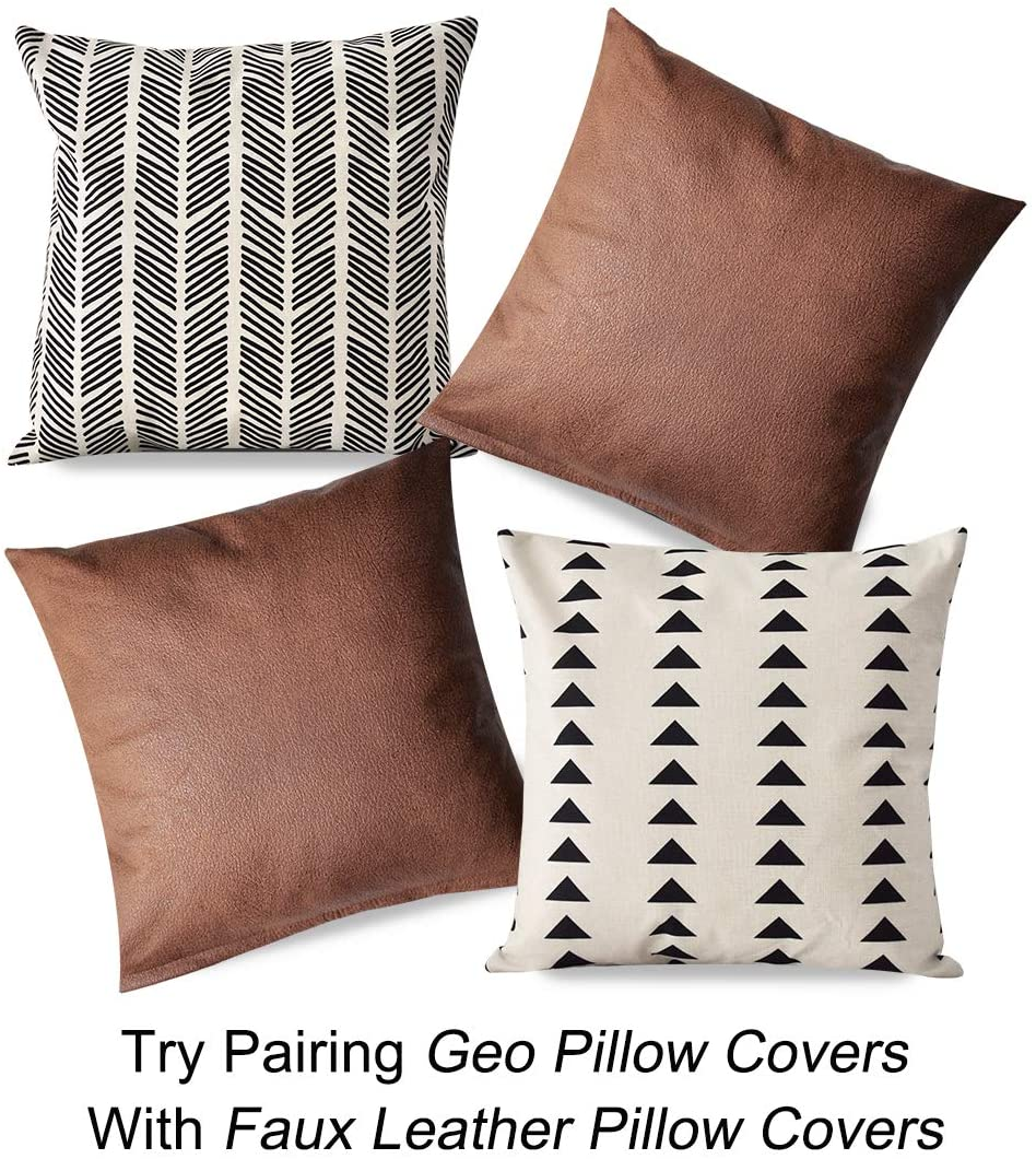 PANDICORN African Mudcloth Black and Cream Pillow Covers 18x18, Geometric Throw Pillow Cases