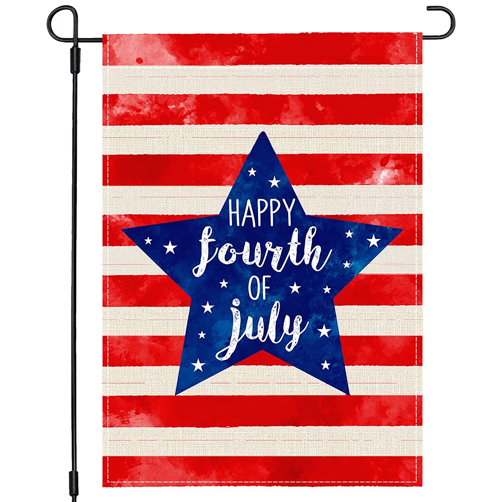Happy 4th Fourth of July American Garden Flag 12x18 Double Sided, Patriotic Stars and Stripes US Flag