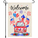 Patriotic 4th of July Garden Flag 12×18 Inch Double Sided, Red Truck and Blue Fireworks US America Flag Balloon